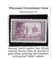 USA=1934  Wisconsin Tercentenary Stamp 3 Cents Issue  Scot#739 - Zonder Classificatie