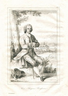Antique Engraving 1835 Jean-Jacques Rousseau  Genevan Philosopher, Writer And Composer - Prenten & Gravure