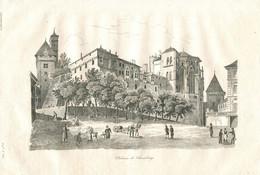 Antique Engraving 1835 Château De Chambéry Fortress Castle Chateau Chambery Alps Architecture - Prenten & Gravure