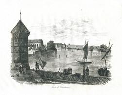 Antique Engraving 1835 Port Of Constance Germany Lake Constance Alps Architecture Fisherman Sail Boat - Prenten & Gravure