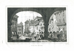 Antique Engraving 1835 Domodossola Piedmont Italy Alps Architecture - Prenten & Gravure