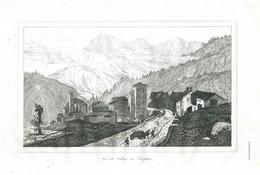 Antique Engraving 1835 Switzerland Swiss Alps Simplon Pass Architecture - Prenten & Gravure