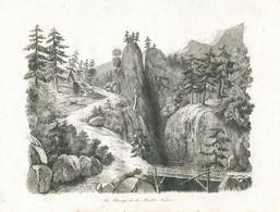 Antique Engraving 1835 Switzerland Germany Black Forest Schwarzwald Bridge Gorge Mountains - Prenten & Gravure