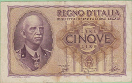 Italie - Billet De 5 Lire - Vittorio Emanuele III - 1940 - P28 - Italia – 5 Lire