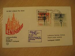 SAINT PETERSBURG Frankfurt 1980 Lufthansa Airlines Boeing 727 First Flight Violet Cancel Cover RUSSIA USSR GERMANY - Briefe U. Dokumente