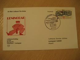 SAINT PETERSBURG Dusseldorf 1983 Lufthansa Airlines Airline Boeing 727 First Flight Cancel Card RUSSIA USSR GERMANY - Briefe U. Dokumente
