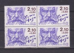 """FRANCE / 1985 / Y&T N° 2358 ** : """"Ecrivains"""" (Victor Hugo) De Feuille X 4 En Bloc - Neufs"""