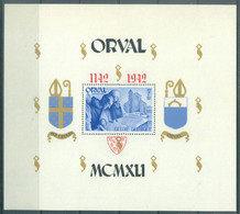 BELGIQUE - 1942 - MNH/***- LUXE - ORVAL PERFORATED GOTHIC RED LETTERS - COB BLOC 24 - Lot 22889 - Blokken 1924-1960