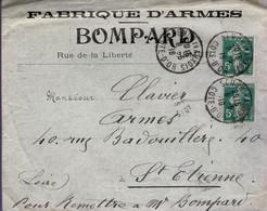 France - Enveloppe Avec Nombreuses Publicités - BOMPARD - Fabrique D'armes - 1916 - Advertising