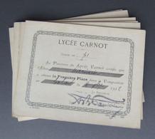Six Certificats De Première Place En Composition - Lycée Carnot à Paris - Période 1912-1914 - Diplome Und Schulzeugnisse