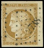 EMISSION DE 1849 - 1    10c. Bistre-jaune, Petit BORD De FEUILLE, Obl. PC 2738, Superbe - 1849-1850 Ceres