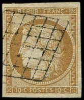 EMISSION DE 1849 - 1    10c. Bistre-jaune, Obl. GRILLE, Très Bien Margé, TTB - 1849-1850 Ceres