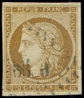 EMISSION DE 1849 - 1    10c. Bistre-jaune, Obl. PC, TB - 1849-1850 Ceres