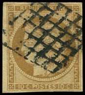 EMISSION DE 1849 - 1    10c. Bistre-jaune, Oblitéré GRILLE Un Peu Lourde, TB - 1849-1850 Ceres