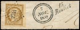 EMISSION DE 1849 - 1    10c. Bistre-jaune, Petit Bdf, Marge Fine Dans Un Angle, Obl. PC 2744 S. Fragt, Cursive 15/ROULLE - 1849-1850 Ceres