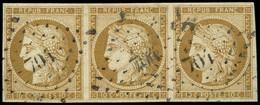 EMISSION DE 1849 - 1    10c. Bistre-jaune, BANDE De 3 Obl. PC 701, TTB. C - 1849-1850 Ceres