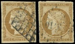 EMISSION DE 1849 - 1    10c. Bistre-jaune, 2 Ex. Obl. GRILLE Et PC, Signés C Et S - 1849-1850 Ceres
