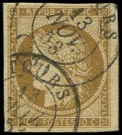 EMISSION DE 1849 - 1a   10c. Bistre-brun, Obl. Càd T15 TOURS 13/11/53, TB. C - 1849-1850 Ceres