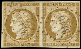 EMISSION DE 1849 - 1a   10c. Bistre-brun, PAIRE Obl. PC 3110, Frappe Superbe - 1849-1850 Ceres