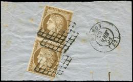 EMISSION DE 1849 - 1a   10c. Bistre-brun, Nuance Proche De Bistre-verdâtre Foncé, PAIRE Obl. GRILLE S. Fragt, Càd T15 NA - 1849-1850 Ceres