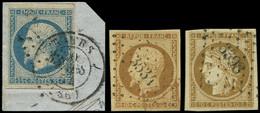 EMISSION DE 1849 - 1a, 9 Et 15, 10c. Bistre-brun, 10c. Bistre-jaune Et 25c. Bleu, Tous Obl. PC, TB - 1849-1850 Ceres