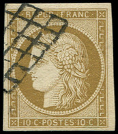 EMISSION DE 1849 - 1b   10c. Bistre-VERDATRE, Obl. GRILLE, TB - 1849-1850 Ceres