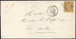 Let EMISSION DE 1849 - 1    10c. Bistre-jaune, Obl. GRILLE S. LSC, Càd T15 AUCH 9/3/51 Et Cursive 31/BARRAN En ROUGE, TT - 1849-1876: Periodo Classico