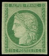 * EMISSION DE 1849 - 2    15c. Vert, Timbre D'une Grande Fraîcheur Avec Une Très Belle Gomme, TTB, Certif. Calves - 1849-1850 Ceres