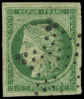 EMISSION DE 1849 - 2    15c. Vert, Obl. ETOILE, Très Grandes Marges, TTB, Certif. Scheller - 1849-1850 Ceres