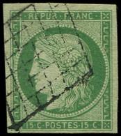 EMISSION DE 1849 - 2    15c. Vert, Oblitéré GRILLE, Très Belles Marges, TTB. C - 1849-1850 Ceres
