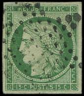 EMISSION DE 1849 - 2    15c. Vert, Obl. ETOILE, TB. Br - 1849-1850 Ceres