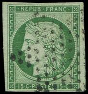 EMISSION DE 1849 - 2    15c. Vert, Obl. ETOILE, Filet De Voisin (partiel) à Droite, TB - 1849-1850 Ceres