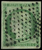 EMISSION DE 1849 - 2    15c. Vert, Oblitéré Pointillés, TB - 1849-1850 Ceres