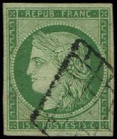 EMISSION DE 1849 - 2    15c. Vert, Obl. GRILLE, TB. Br - 1849-1850 Ceres