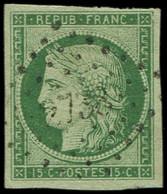 EMISSION DE 1849 - 2    15c. Vert Obl. PC 2738, TTB. C - 1849-1850 Ceres