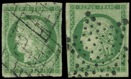 EMISSION DE 1849 - 2    15c. Vert, 2 Nuances Obl. GRILLE Et ETOILE, TB. C - 1849-1850 Ceres