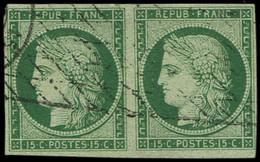 EMISSION DE 1849 - 2b   15c. Vert FONCE, PAIRE Obl. GRILLE SANS FIN, Très Frais Et TB. C Et Br, Cote Maury - 1849-1850 Ceres