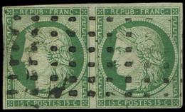 EMISSION DE 1849 - 2b   15c. Vert FONCE, PAIRE Obl. GROS POINTS, TB - 1849-1850 Ceres