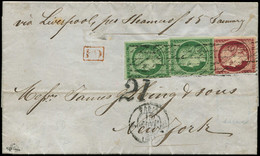 Let EMISSION DE 1849 - 2 Et 6, 15c. Vert, 2 Ex. TB Et 1f. Carmin Entamé, Obl. GRILLE SANS FIN S. LAC Pour NEW-YORK, Càd  - 1849-1876: Periodo Classico