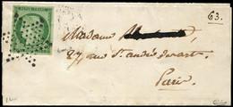 Let EMISSION DE 1849 - 2b   15c. Vert FONCE, Obl. ETOILE S. Petite LSC De Paris Pour Paris 16/6/53, TTB, Certif. Calves - 1849-1876: Periodo Classico