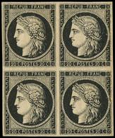 ** EMISSION DE 1849 - 3    20c. Noir Sur Jaune, BLOC De 4, La Paire Sup. *, Grande Fraîcheur, TTB - 1849-1850 Ceres