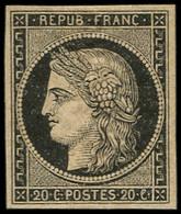 * EMISSION DE 1849 - 3    20c. Noir Sur Jaune, Froissure De Gomme, Sinon TB - 1849-1850 Ceres