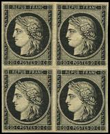 * EMISSION DE 1849 - 3    20c. Noir Sur Jaune, BLOC De 4, Ch. Légère, Très Frais, TTB. J - 1849-1850 Ceres