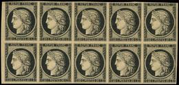 (*) EMISSION DE 1849 - 3    20c. Noir Sur Jaune, BLOC De 10, Un Ex. Filet Touché Dans Un Angle, Un Autre Au Filet Dans U - 1849-1850 Ceres