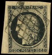 EMISSION DE 1849 - 3    20c. Noir Sur Jaune, Petit Cdf, Obl. GRILLE, TTB - 1849-1850 Ceres