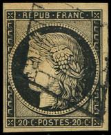 EMISSION DE 1849 - 3    20c. Noir Sur Jaune, Obl. GRILLE, TTB - 1849-1850 Ceres