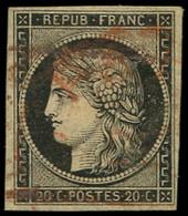 EMISSION DE 1849 - 3    20c. Noir Sur Jaune, Obl. GRILLE ROUGE (2 Frappes), TB - 1849-1850 Ceres