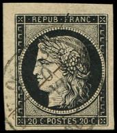 EMISSION DE 1849 - 3    20c. Noir Sur Jaune, Obl. PLUME Et Càd T15 10 JANV 49, Petit Cdf, TTB. C - 1849-1850 Ceres