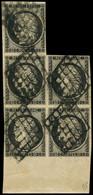 EMISSION DE 1849 - 3    20c. Noir Sur Jaune, BLOC De 5 Grand Bord De Feuille, Obl. GRILLE, Cote Du BLOC De 4, TTB. Br - 1849-1850 Ceres