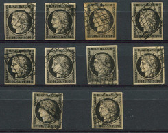 EMISSION DE 1849 - 3    20c. Noir Sur Jaune, 10 Ex. Obl. GRILLE, TB - 1849-1850 Ceres